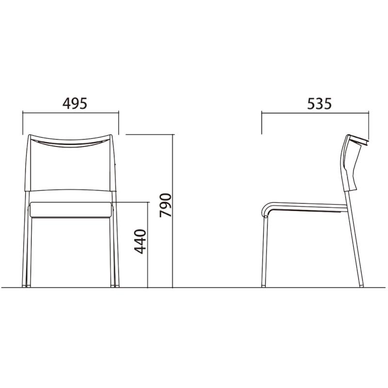 ミーティングチェア スタッキングチェア 会議用椅子 4本脚 スチール メッキ脚 レザー | I-LTS-4M-V
