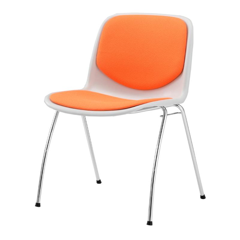 ミーティングチェア スタッキングチェア 学校教育用椅子 4本脚 スチール メッキ脚 シェルライトグレー 上級布 | I-DJA308-PXN