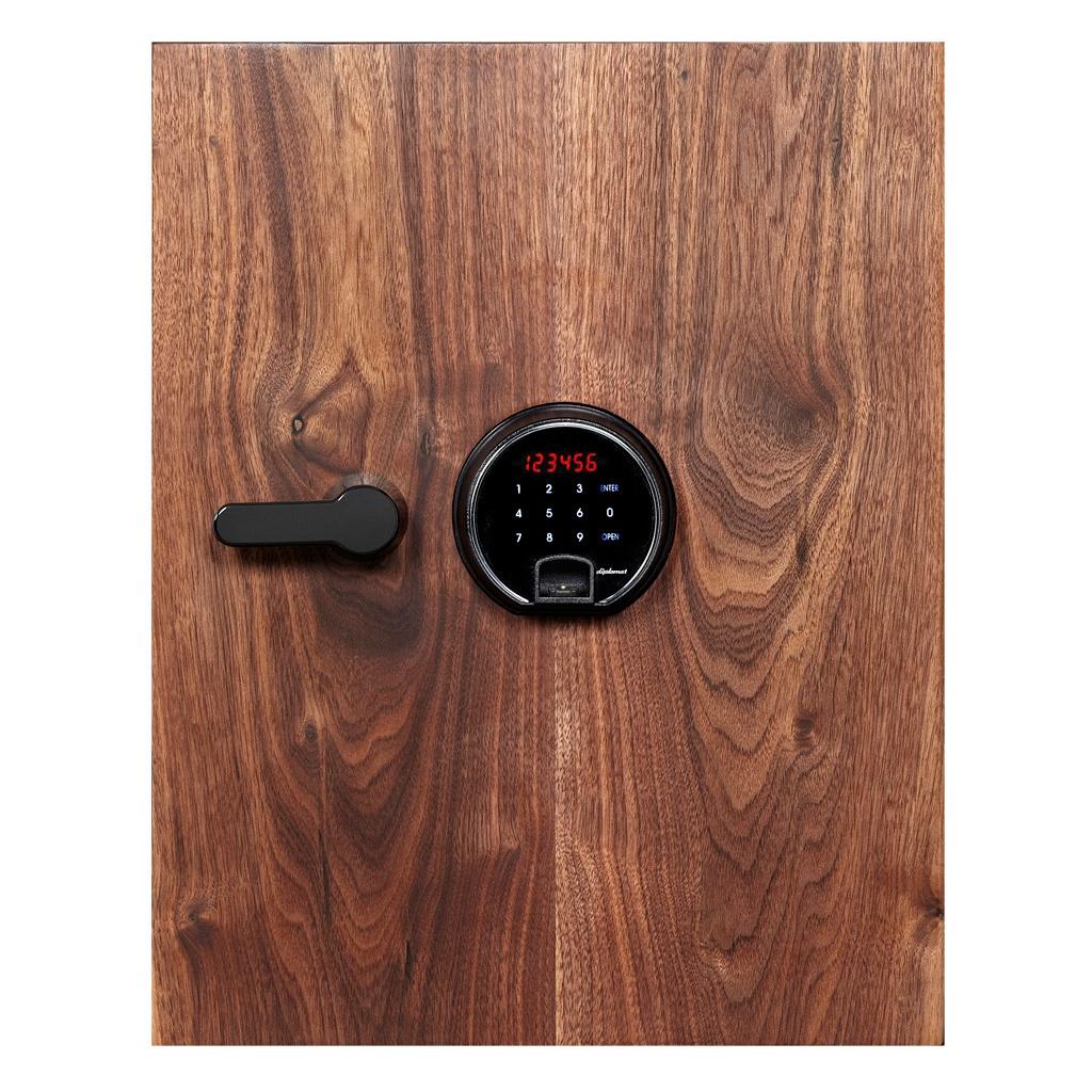 ディプロマット タッチパネル+指紋認証式 デザイン金庫 60分耐火 容量36L 天然ウォールナット 警報音付 | I-DBAUM500