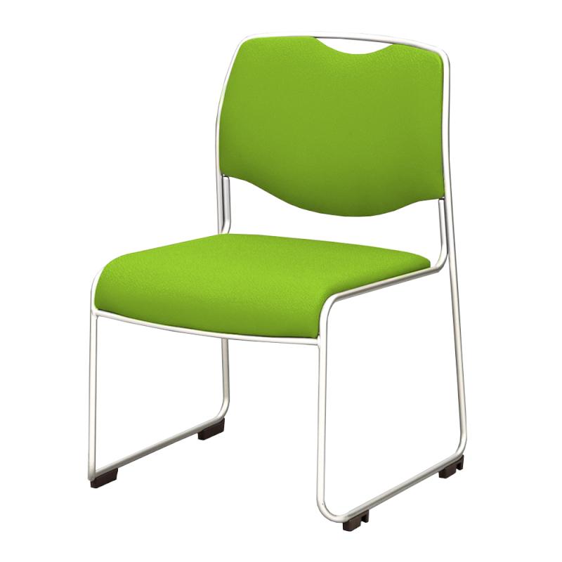 ミーティングチェア スタッキングチェア 会議用椅子 ループ脚 ステンレス メッキ脚 上級布 | I-DMC25-PXN