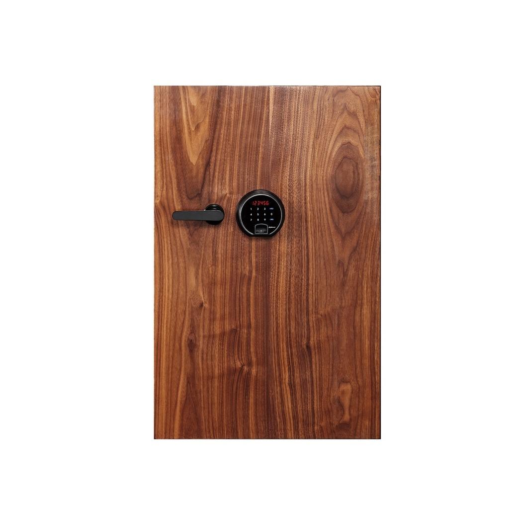 ディプロマット タッチパネル+指紋認証式 デザイン金庫 90分耐火 容量36L 天然ウォールナット 警報音付 | I-DBAUM800