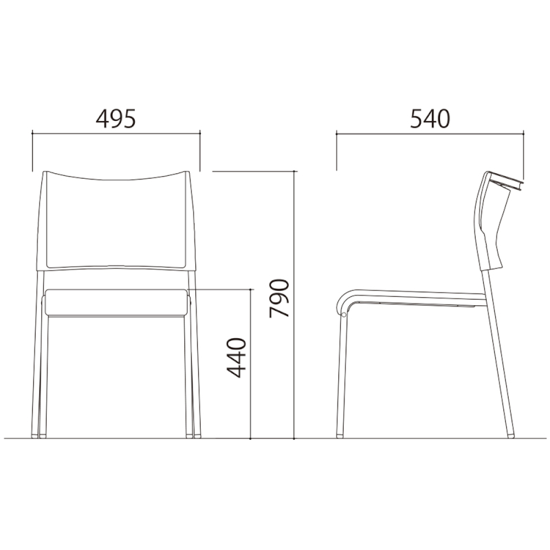 ミーティングチェア スタッキングチェア 会議用椅子 4本脚 スチール メッキ脚 布   I-LTS-4PM-F