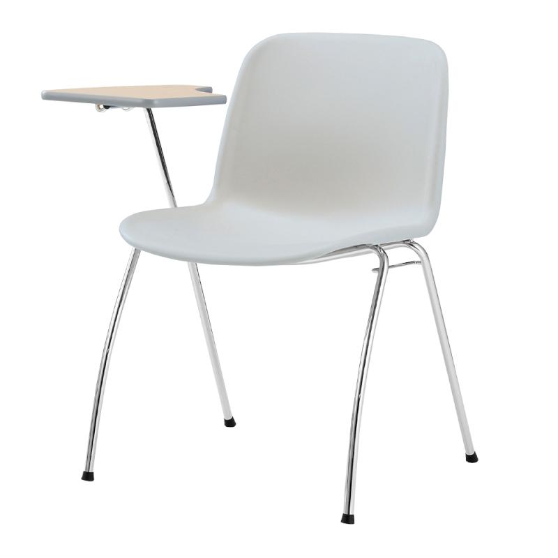 ミーティングチェア スタッキングチェア 学校教育用椅子 4本脚 スチール メッキ脚 メモ台付き シェルライトグレー 樹脂   I-DJM25L