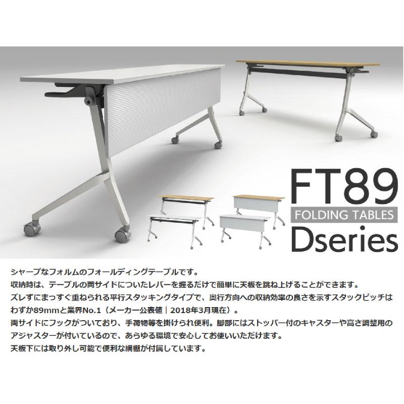 会議用テーブル キャスター付き W1800 D600 H720 幕板なし デザイン脚タイプ | I-FT89-D1860T