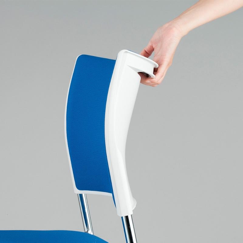 ミーティングチェア スタッキングチェア 会議用椅子 4本脚 スチール メッキ脚 キャスター付き レザー | I-LTS-4PMC-V