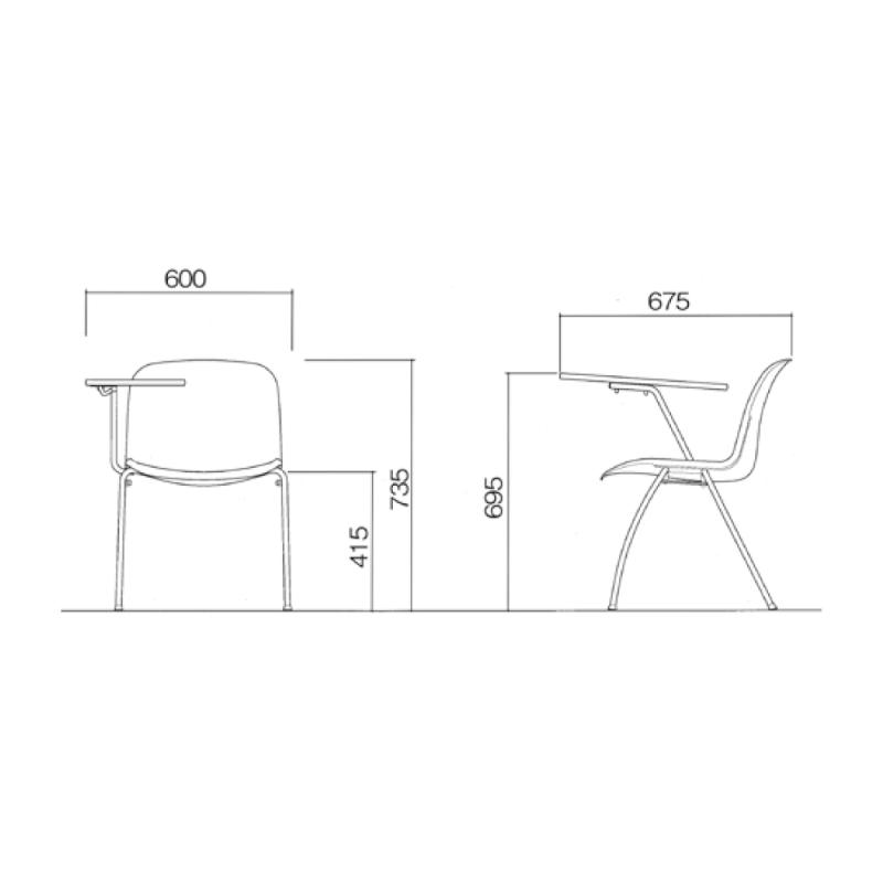 ミーティングチェア スタッキングチェア 学校教育用椅子 4本脚 スチール メッキ脚 メモ台付き シェルブラック レザー | I-DJM251-LYL