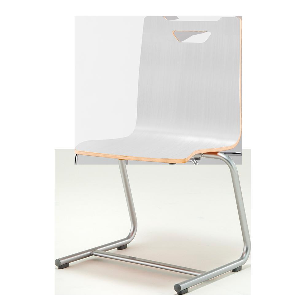 ミーティングチェア スタッキングチェア ラウンジ用椅子 カンチレバー脚 スチール シルバー 塗装脚 木 | I-FKCC-WW-G