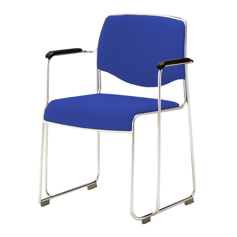 ミーティングチェア スタッキングチェア 会議用椅子 ループ脚 ステンレス メッキ脚 肘付き 上級布 | I-DMC11-PXN