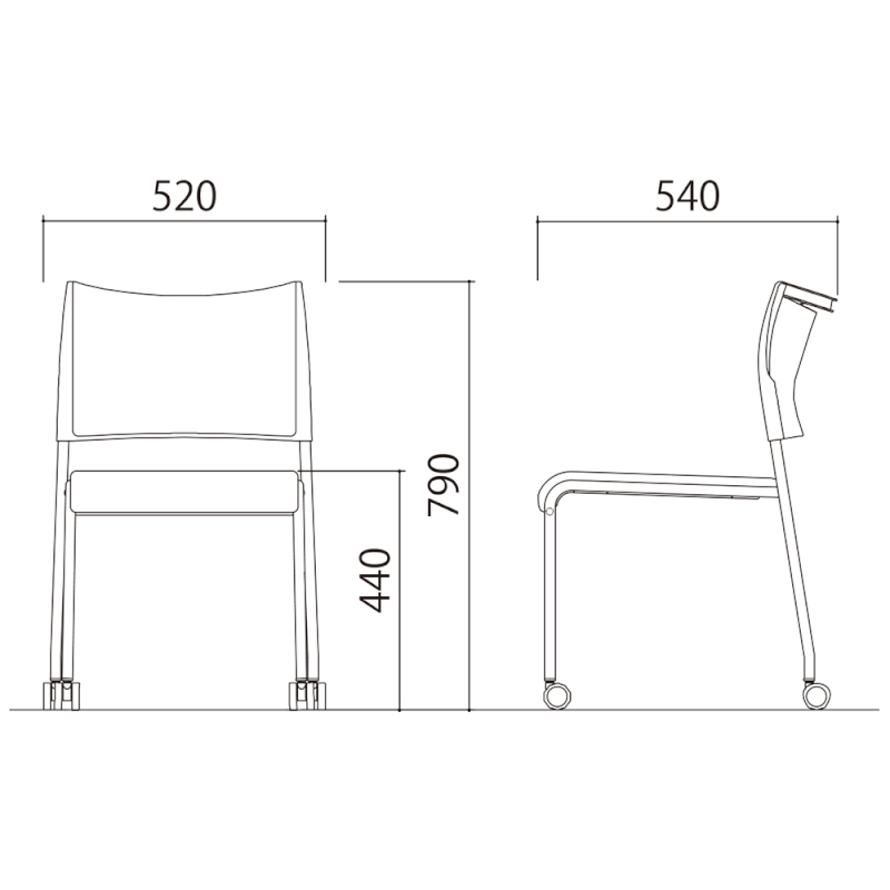 ミーティングチェア スタッキングチェア 会議用椅子 4本脚 スチール メッキ脚 キャスター付き 布   I-LTS-4PMC-F