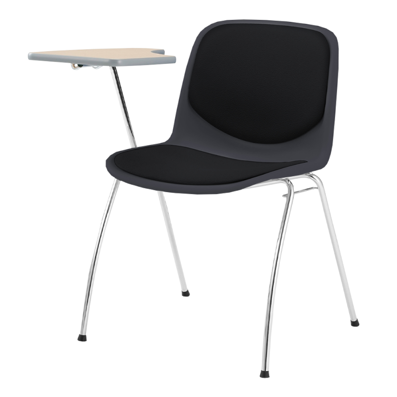 ミーティングチェア スタッキングチェア 学校教育用椅子 4本脚 スチール メッキ脚 メモ台付き シェルブルー 上級布 | I-DJM251-PXN