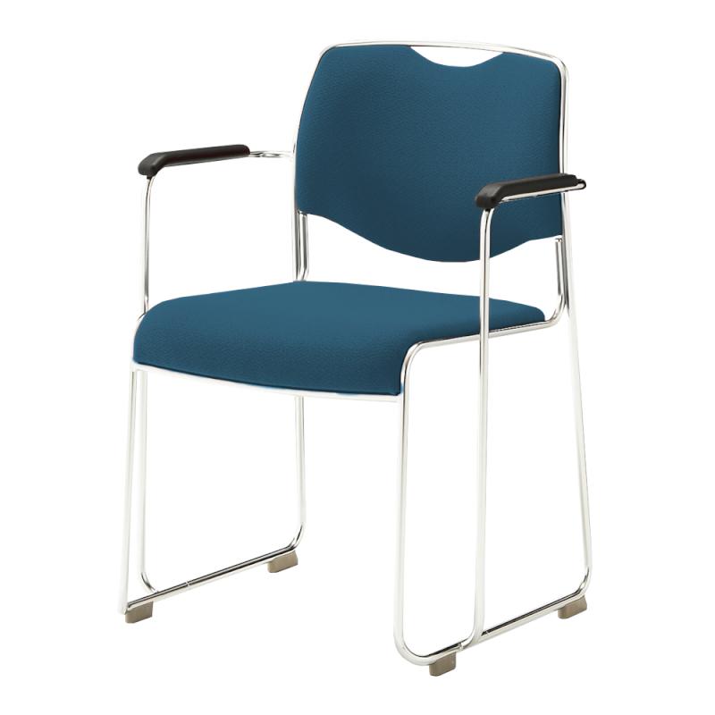 ミーティングチェア スタッキングチェア 会議用椅子 ループ脚 ステンレス メッキ脚 肘付き レザー | I-DMC16-LYL