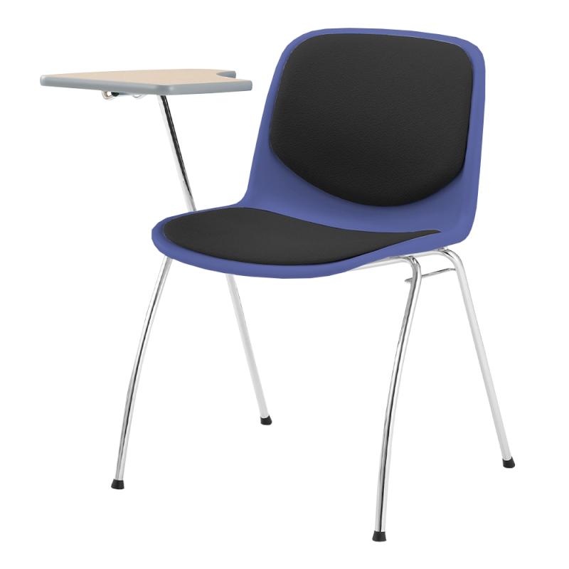 ミーティングチェア スタッキングチェア 学校教育用椅子 4本脚 スチール メッキ脚 メモ台付き シェルライトグレー レザー   I-DJM257-LYL