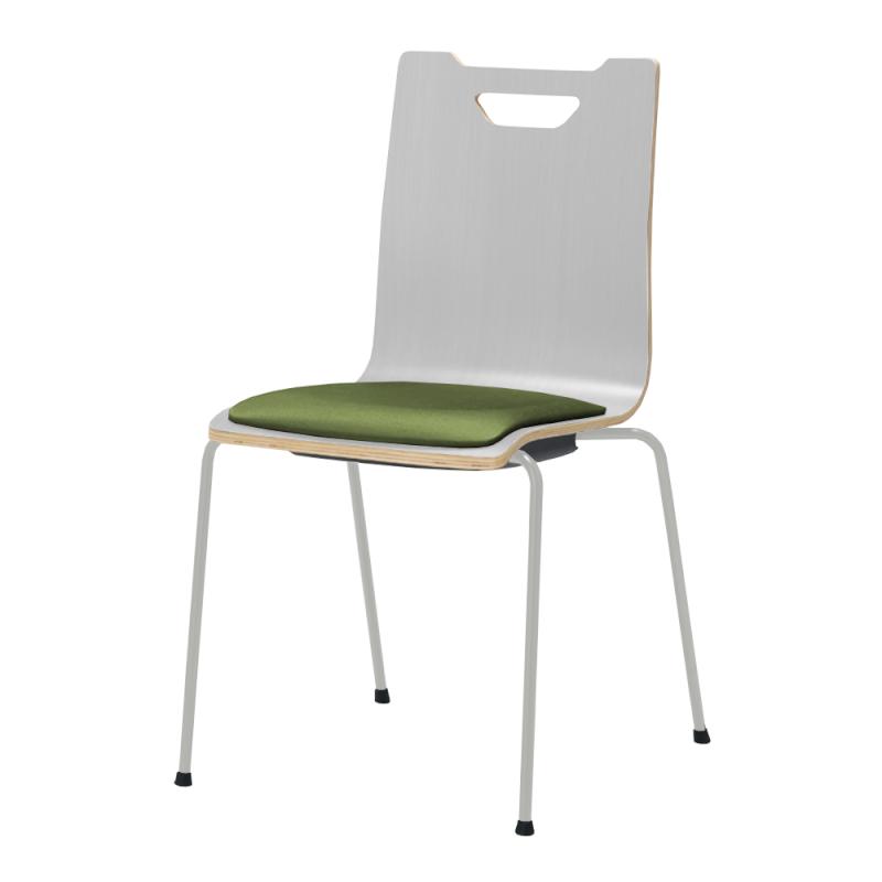 ミーティングチェア スタッキングチェア ラウンジ用椅子 4本脚 スチール シルバー 塗装脚 座パッド付き ホワイト   I-FKCFP-WW-G