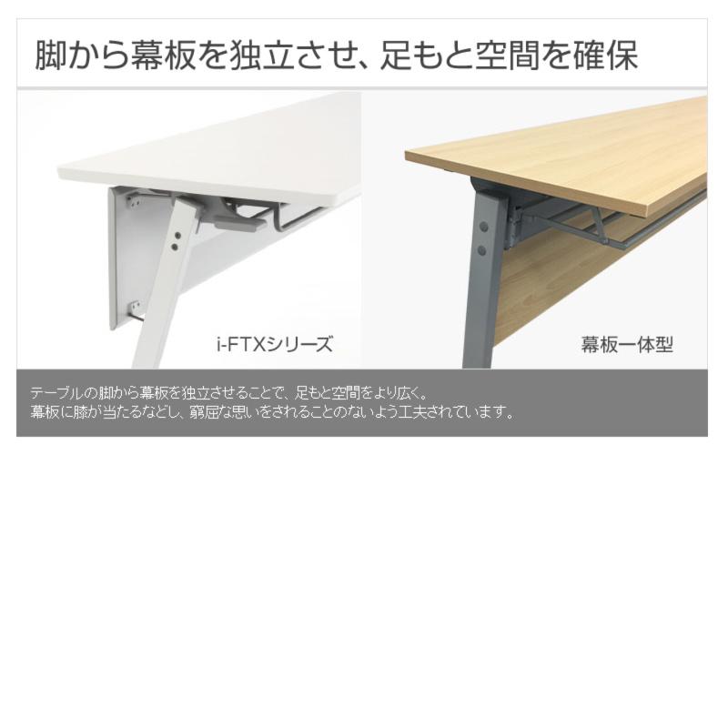 会議用テーブル キャスター付き W1800 D450 H700 幕板なし Z脚タイプ | I-FTX-Z1845