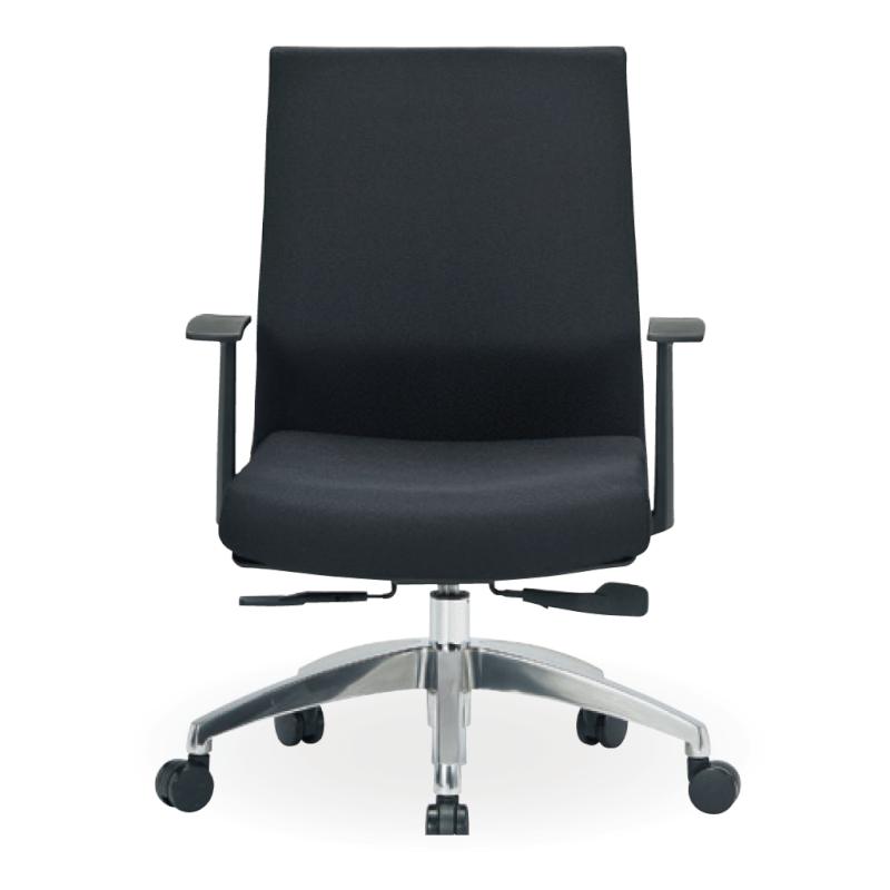 オフィスチェア デスクチェア 事務椅子 肘付き 布張り ブラック | I-ICAI-2285-F-BK