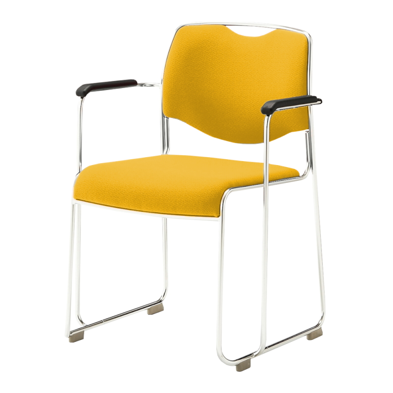 ミーティングチェア スタッキングチェア 会議用椅子 ループ脚 ステンレス メッキ脚 肘付き 布 | I-DMC16-SJN