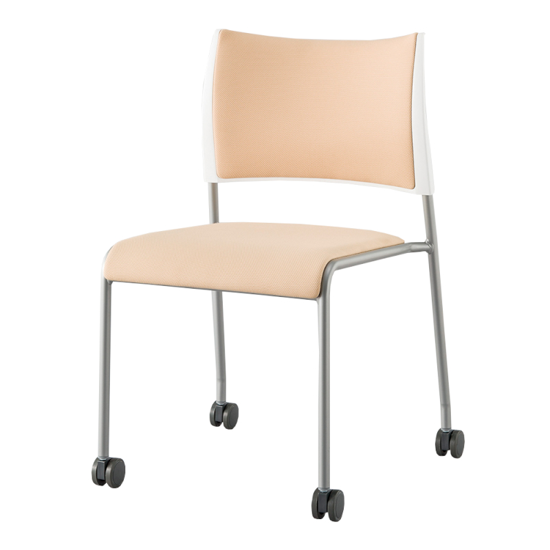 ミーティングチェア スタッキングチェア 会議用椅子 4本脚 スチール メッキ脚 キャスター付き 布 ベージュ | I-LTS-4PC-F