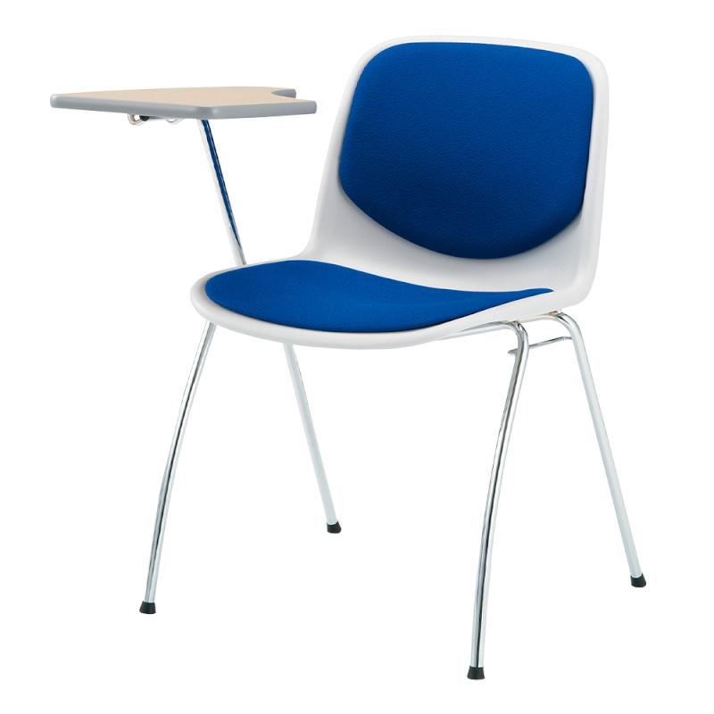 ミーティングチェア スタッキングチェア 学校教育用椅子 4本脚 スチール メッキ脚 メモ台付き シェルブルー レザー | I-DJM258-LYL