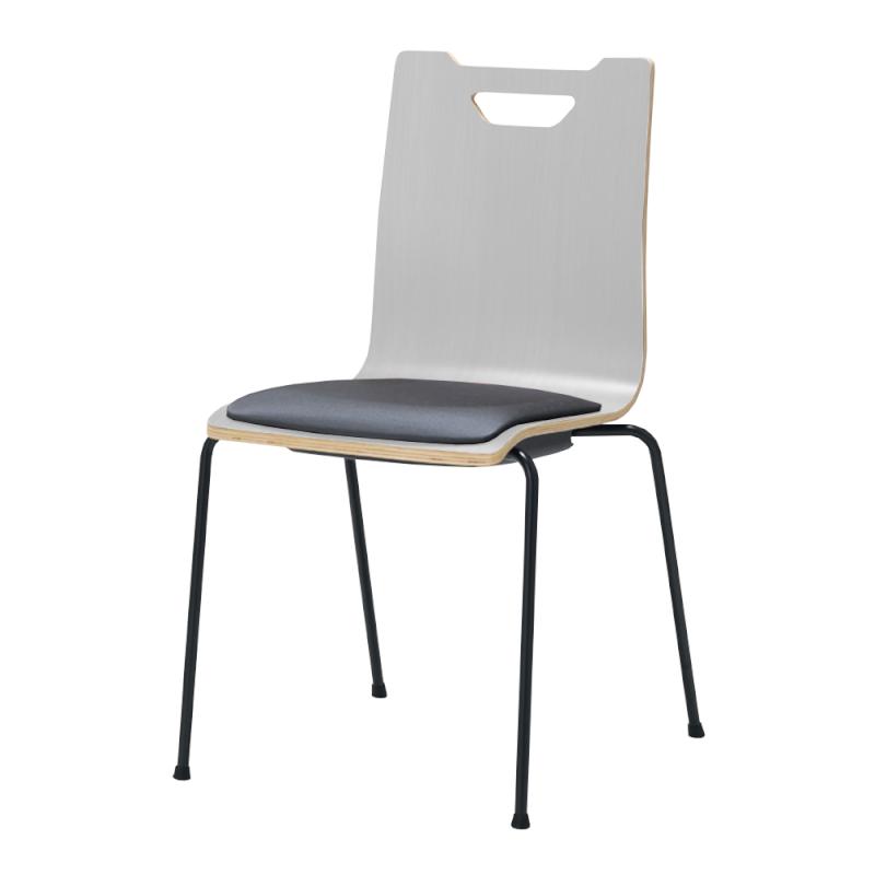 ミーティングチェア スタッキングチェア ラウンジ用椅子 4本脚 スチール ブラック 塗装脚 座パッド付き ホワイト | I-FKCFP-WW-B