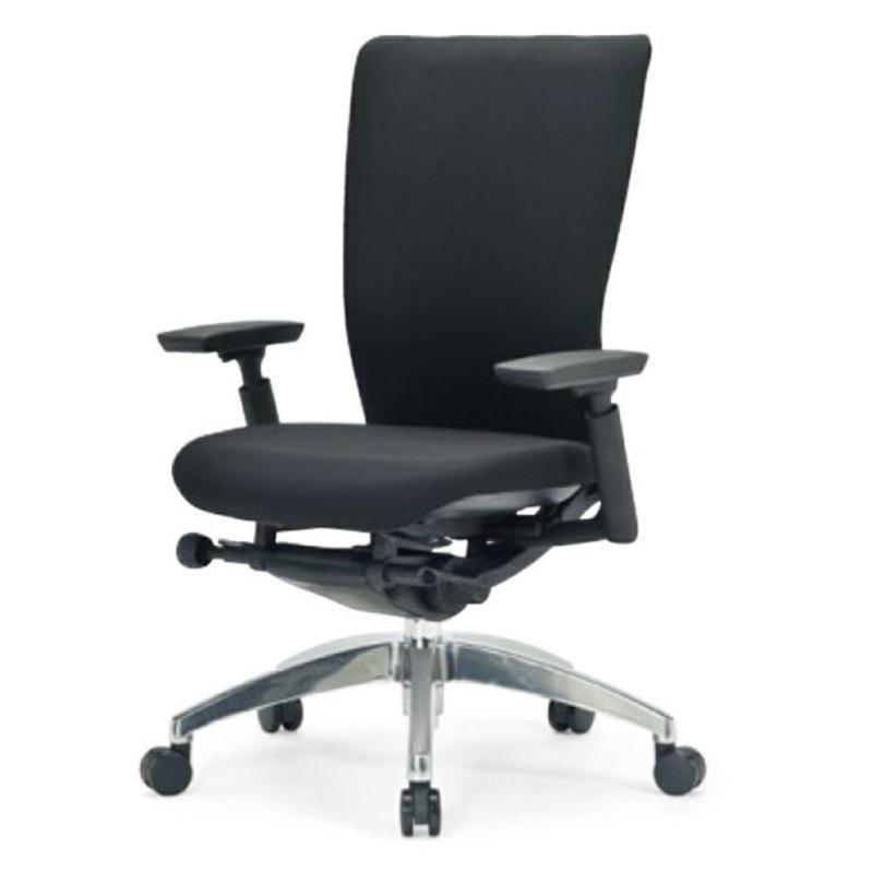 オフィスチェア デスクチェア 事務椅子 肘付き 布張り ブラック | I-ICAI-5535-F-BK