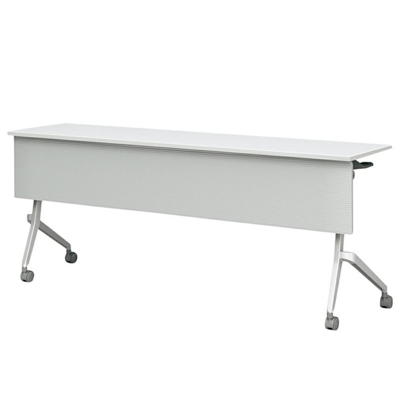 会議用テーブル キャスター付き W1800 D450 H720 幕板付き デザイン脚タイプ | I-FT89-D1845TM