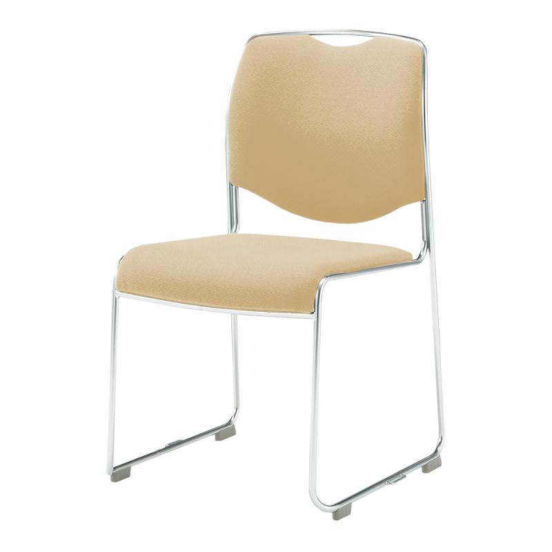 ミーティングチェア スタッキングチェア 会議用椅子 ループ脚 ステンレス メッキ脚 肘付き レザー | I-DMC17-LYL