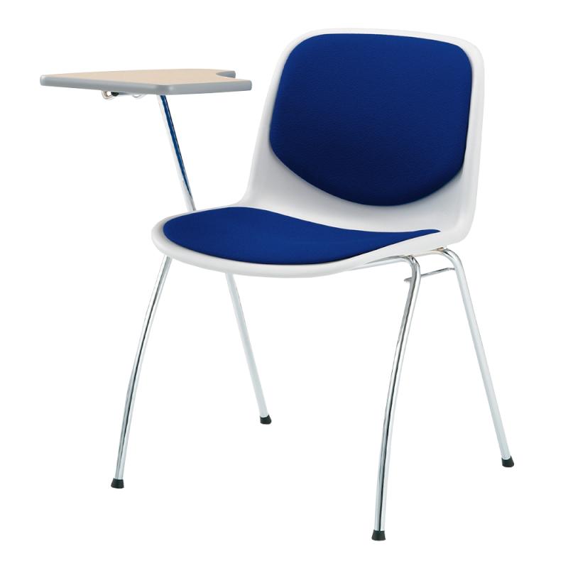 ミーティングチェア スタッキングチェア 学校教育用椅子 4本脚 スチール メッキ脚 メモ台付き シェルライトグレー 上級布 | I-DJM258-PXN