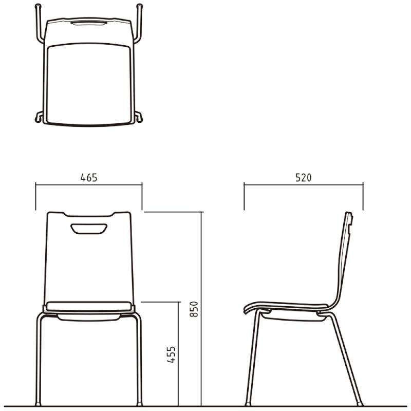 ミーティングチェア スタッキングチェア ラウンジ用椅子 4本脚 スチール ブラック 塗装脚 座パッド付き ダーク | I-FKCFP-DD-B