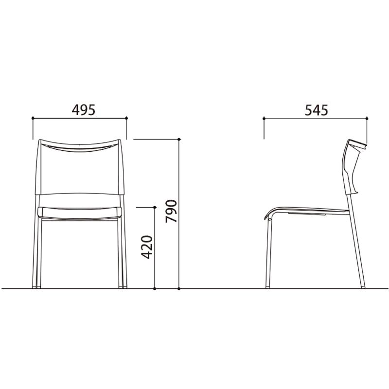 ミーティングチェア スタッキングチェア 会議用椅子 4本脚 スチール メッキ脚 樹脂 | I-LTS-4MZ