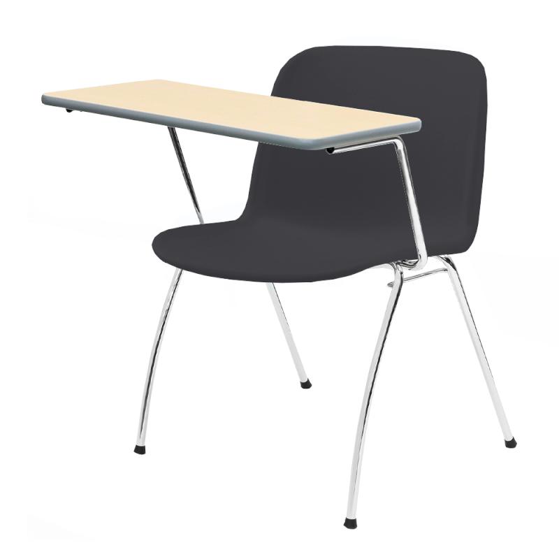 ミーティングチェア スタッキングチェア 学校教育用椅子 4本脚 スチール メッキ脚 大型メモ台付き シェルブラック 樹脂 | I-DJM35B