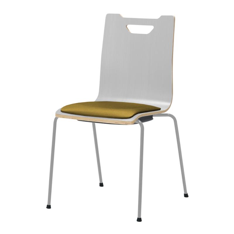 ミーティングチェア スタッキングチェア ラウンジ用椅子 4本脚 スチール メッキ脚 座パッド付き ホワイト | I-FKCFP-WW-M