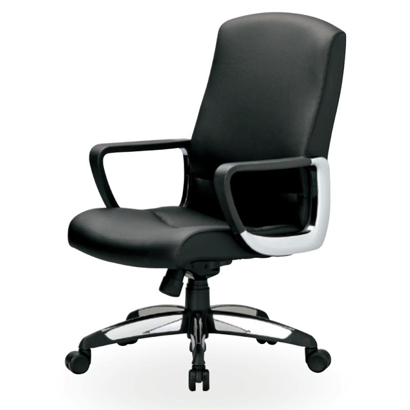 オフィスチェア デスクチェア 事務椅子 肘付き ソフトレザー張り ブラック | I-ICAI-6170-V-BK