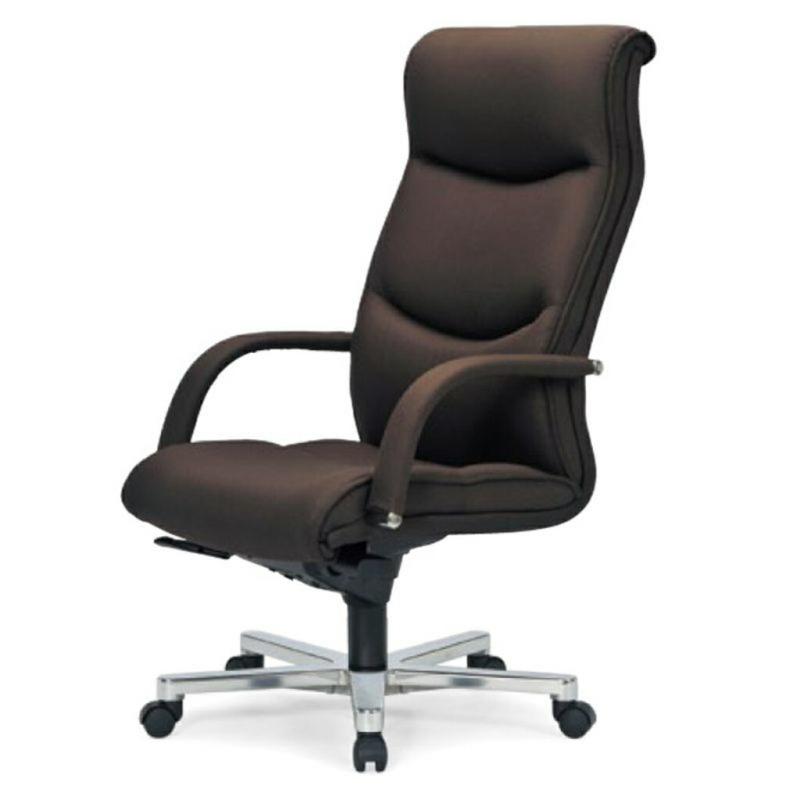 オフィスチェア デスクチェア 事務椅子 肘付き 布張り ダークブラウン | I-ICRA-9255-F-DBR