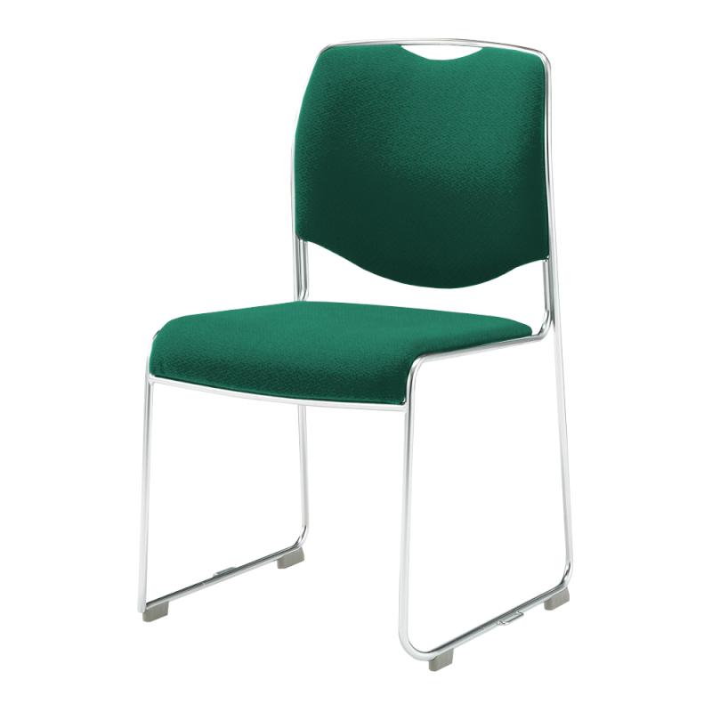 ミーティングチェア スタッキングチェア 会議用椅子 ループ脚 ステンレス メッキ脚 肘付き 上級布 | I-DMC17-PXN