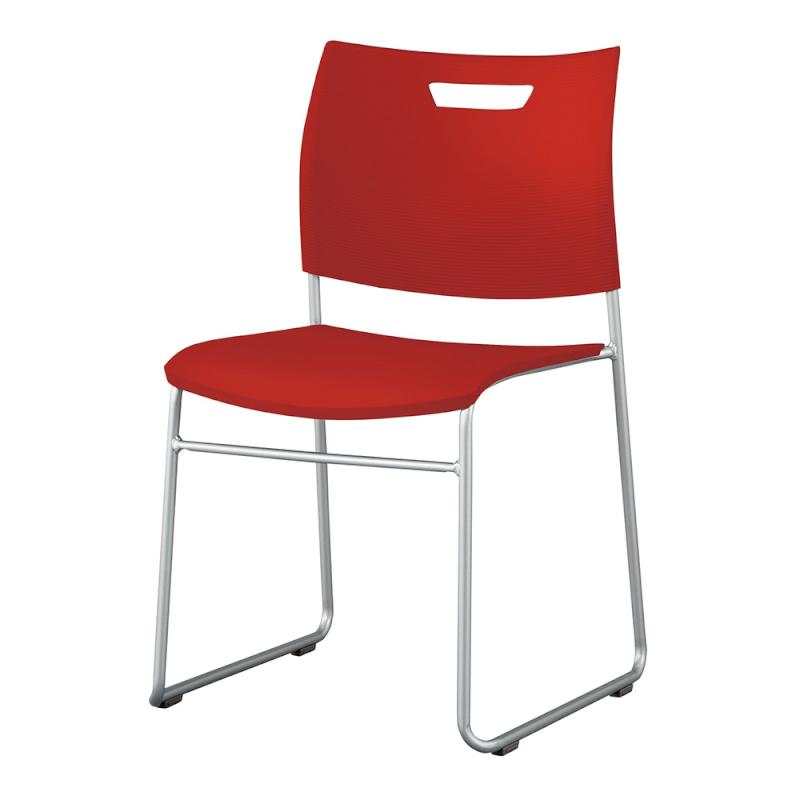 ミーティングチェア スタッキングチェア 学校教育用椅子 ループ脚 スチール シルバー 塗装脚 背座樹脂 | I-CDA-42