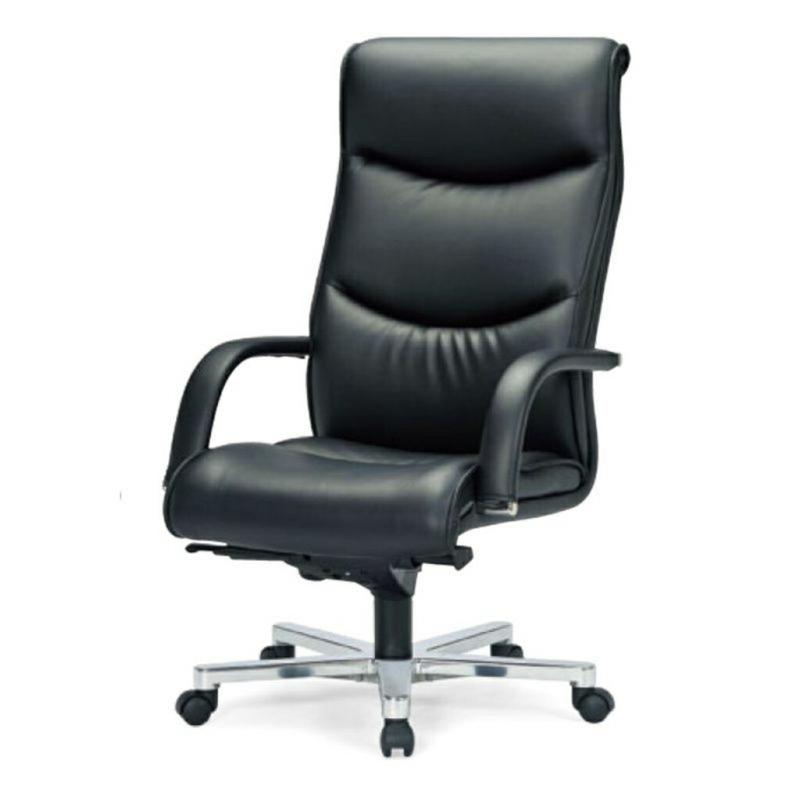 オフィスチェア デスクチェア 事務椅子 肘付き ソフトレザー張り ブラック | I-ICRA-9255-L-BK