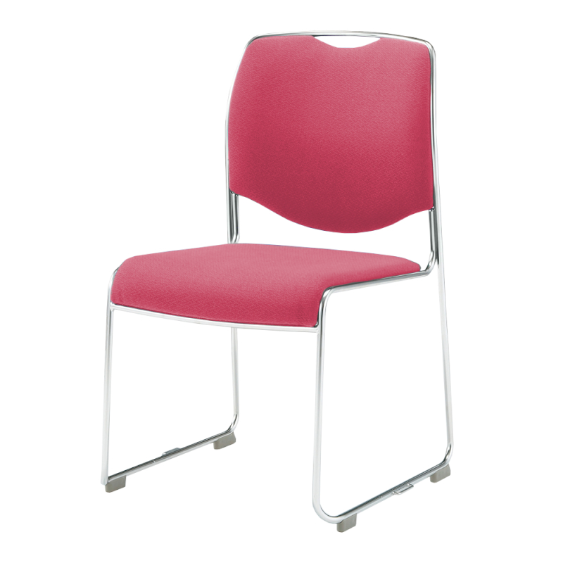 ミーティングチェア スタッキングチェア 会議用椅子 ループ脚 ステンレス メッキ脚 肘付き レザー | I-DMC27-LYL
