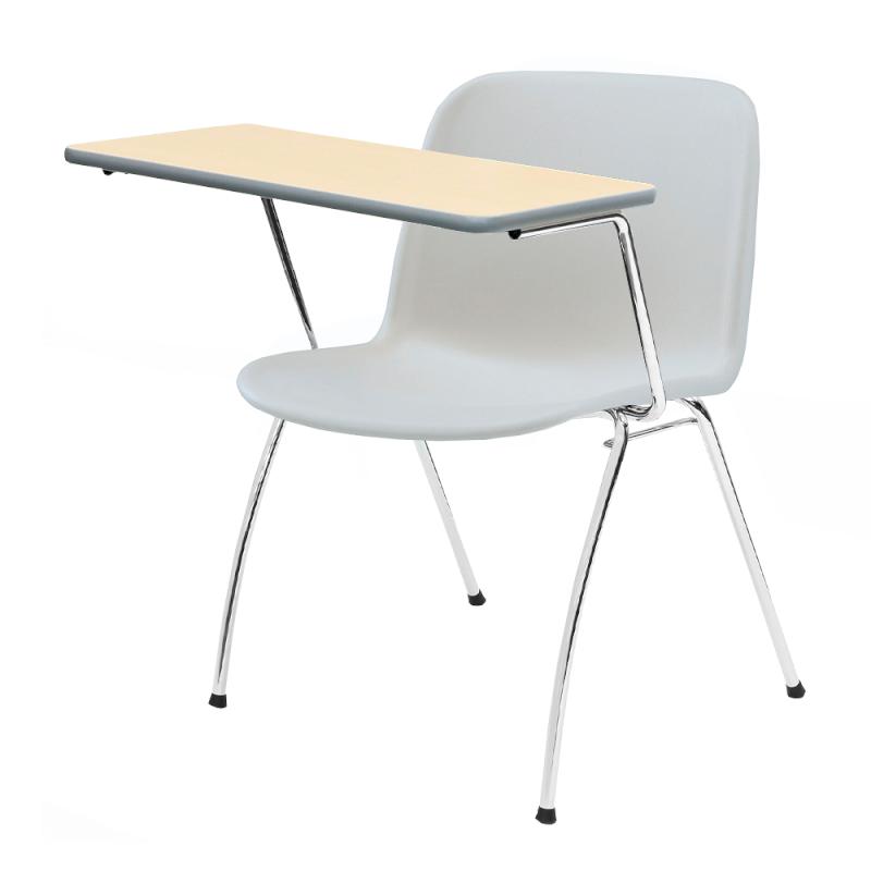 ミーティングチェア スタッキングチェア 学校教育用椅子 4本脚 スチール メッキ脚 大型メモ台付き シェルライトグレー 樹脂 | I-DJM35L