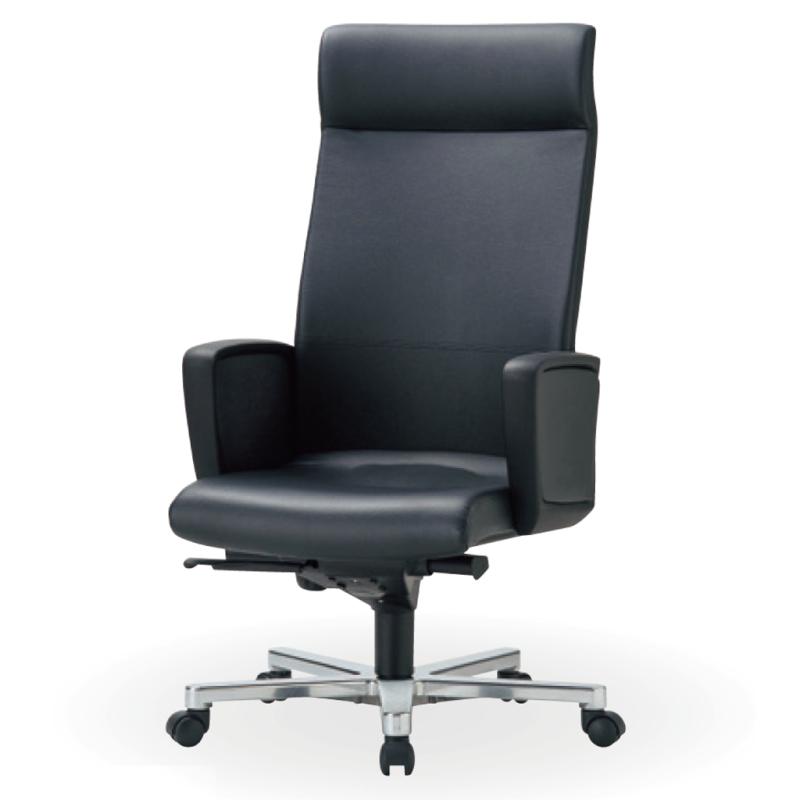 オフィスチェア デスクチェア 事務椅子 肘付き ソフトレザー張り ブラック | I-ICRA-3265-V
