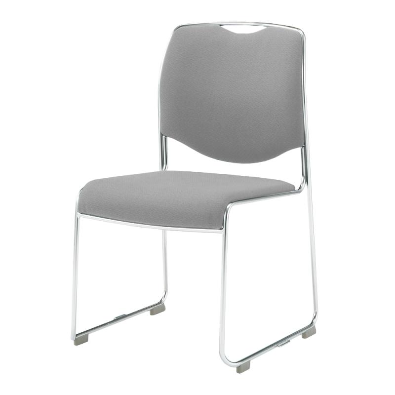 ミーティングチェア スタッキングチェア 会議用椅子 ループ脚 ステンレス メッキ脚 肘付き 布 | I-DMC27-SJN