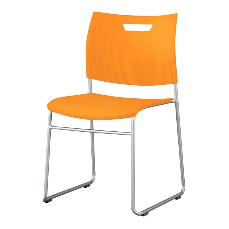 ミーティングチェア スタッキングチェア 学校教育用椅子 ループ脚 スチール シルバー 塗装脚 背座樹脂 | I-CDA-46