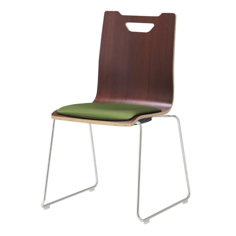 ミーティングチェア スタッキングチェア ラウンジ用椅子 ループ脚 スチール シルバー 塗装脚 座パッド付き ダーク | I-FKCRP-DD-G
