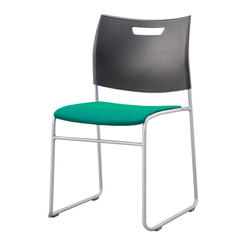 ミーティングチェア スタッキングチェア 学校教育用椅子 ループ脚 スチール シルバー 塗装脚 背樹脂 座レザー | I-CDA-42P