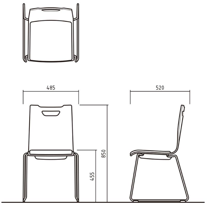 ミーティングチェア スタッキングチェア ラウンジ用椅子 ループ脚 スチール ブラック 塗装脚 座パッド付き ホワイト | I-FKCRP-WW-B
