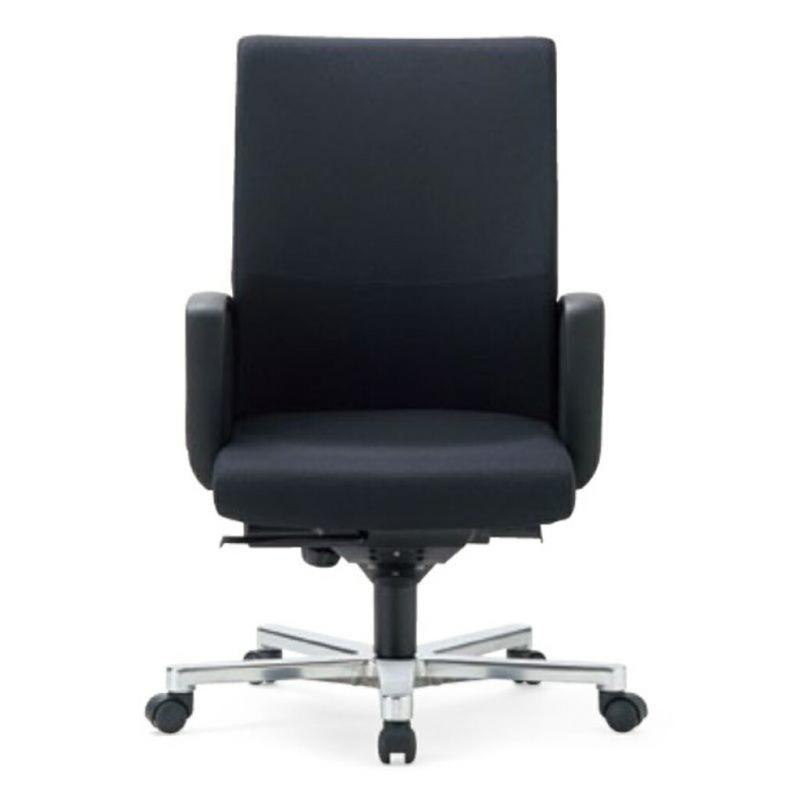 オフィスチェア デスクチェア 事務椅子 肘付き 布張り ブラック | I-ICRA-3215-F