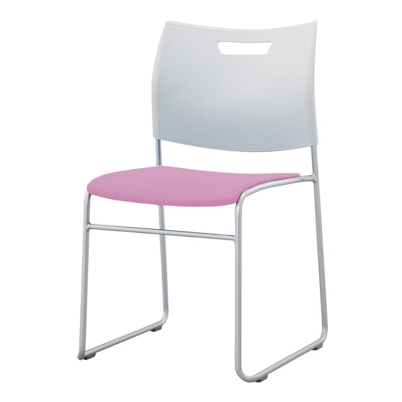 ミーティングチェア スタッキングチェア 学校教育用椅子 ループ脚 スチール シルバー 塗装脚 背樹脂 座レザー | I-CDA-44P