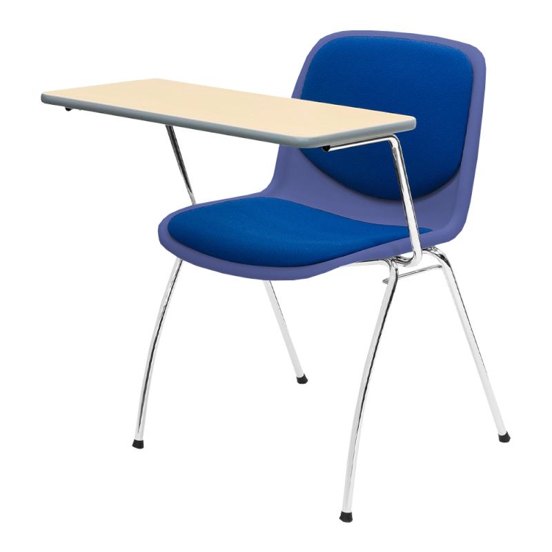ミーティングチェア スタッキングチェア 学校教育用椅子 4本脚 スチール メッキ脚 大型メモ台付き シェルライトグレー レザー | I-DJM357-LYL