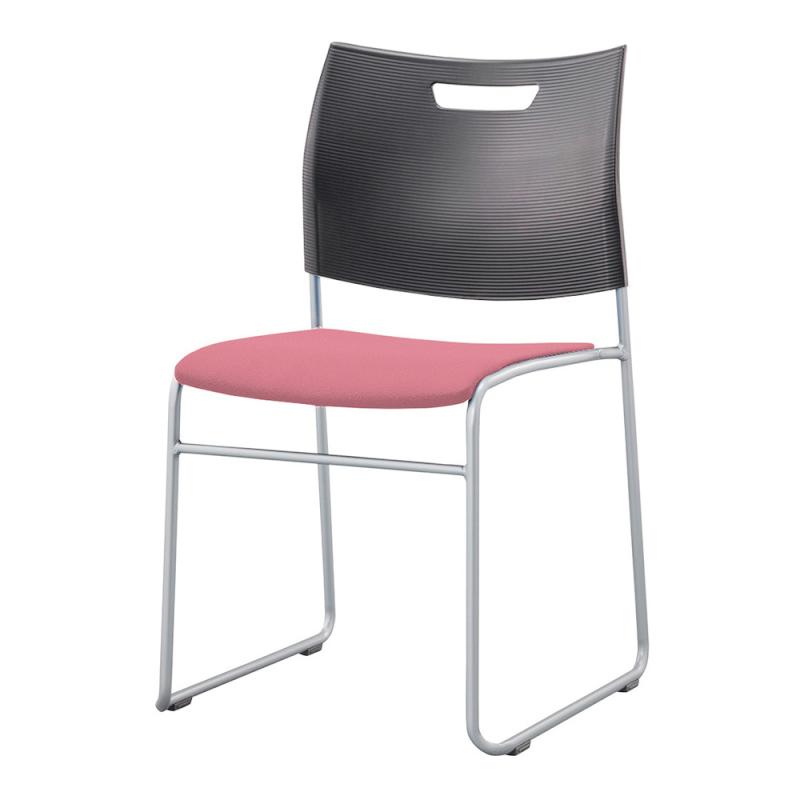 ミーティングチェア スタッキングチェア 学校教育用椅子 ループ脚 スチール シルバー 塗装脚 背樹脂 座レザー | I-CDA-46P