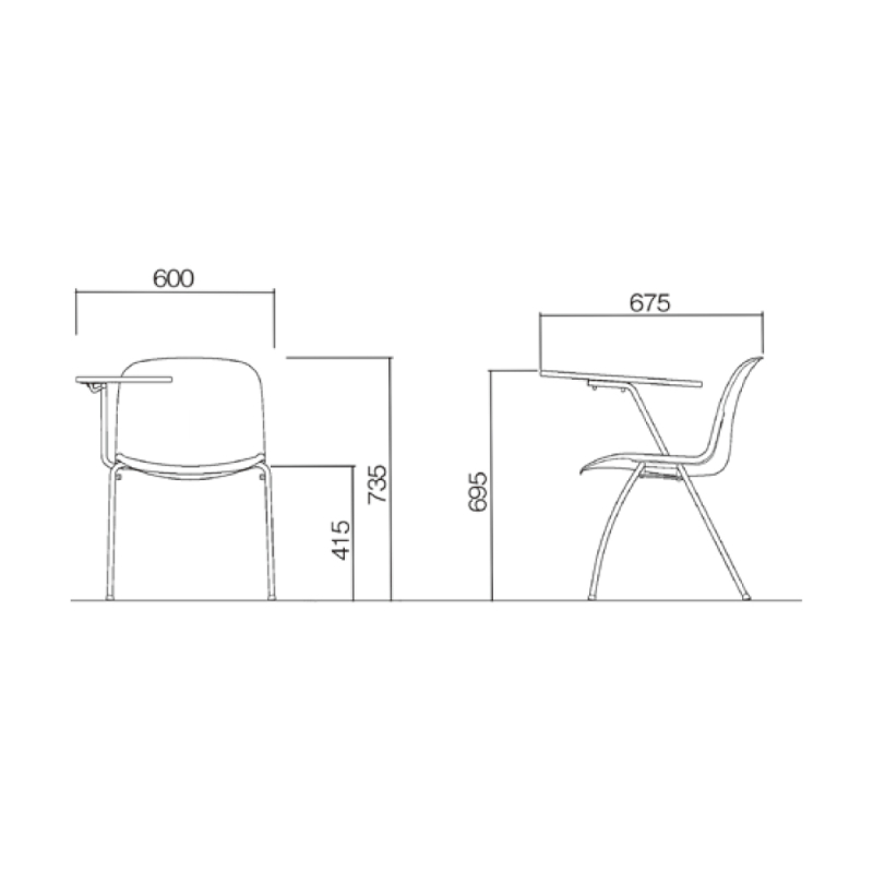 ミーティングチェア スタッキングチェア 学校教育用椅子 4本脚 スチール メッキ脚 大型メモ台付き シェルブラック 上級布 | I-DJM357-PXN