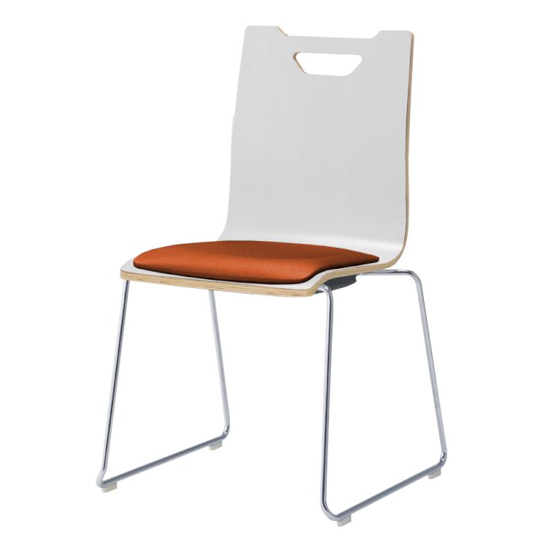 ミーティングチェア スタッキングチェア ラウンジ用椅子 ループ脚 スチール メッキ脚 座パッド付き ホワイト | I-FKCRP-WW-M